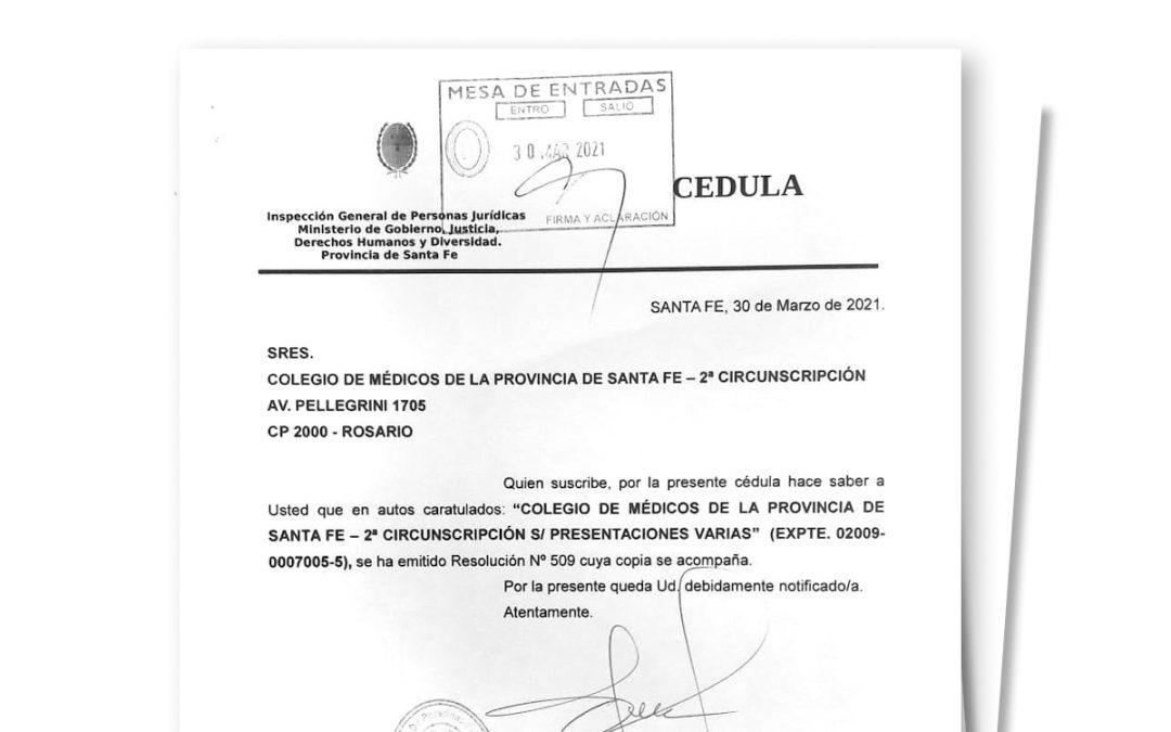 Resolución favorable para el Colegio de Médicos de la IGPJ