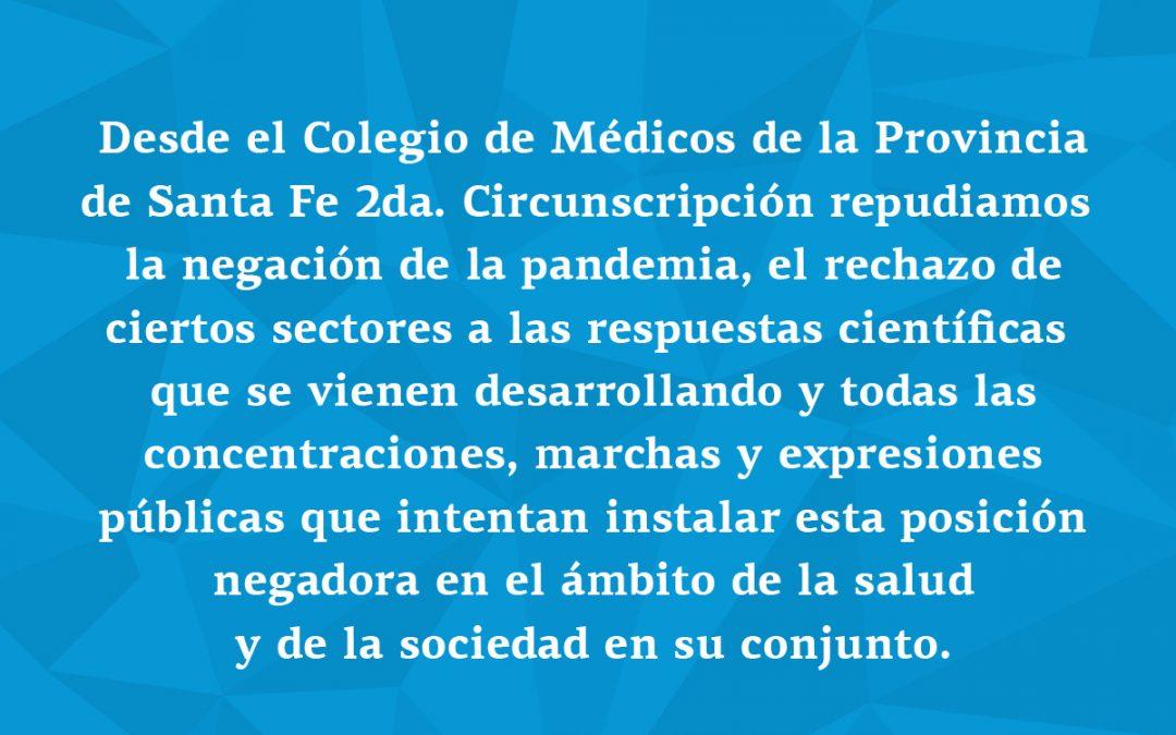 Repudiamos la negación de la pandemia y todas las manifestaciones públicas que defienden esta posición.